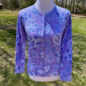 LILLY & VAN SWEATER CARDIGAN PURPLE WHITE BLUE XS